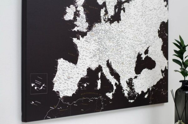 modern european map pinboard with pins