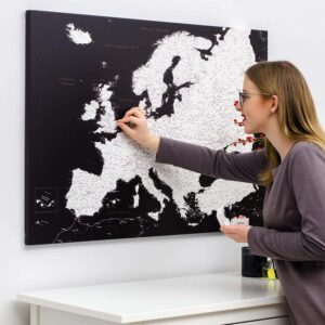 push pin europe map black and white tripmap