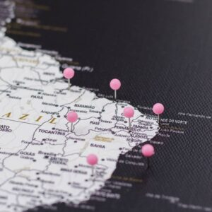 pinned pink colour pins on canvas map