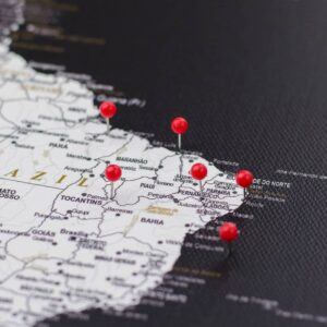 pinned red colour pins on canvas map