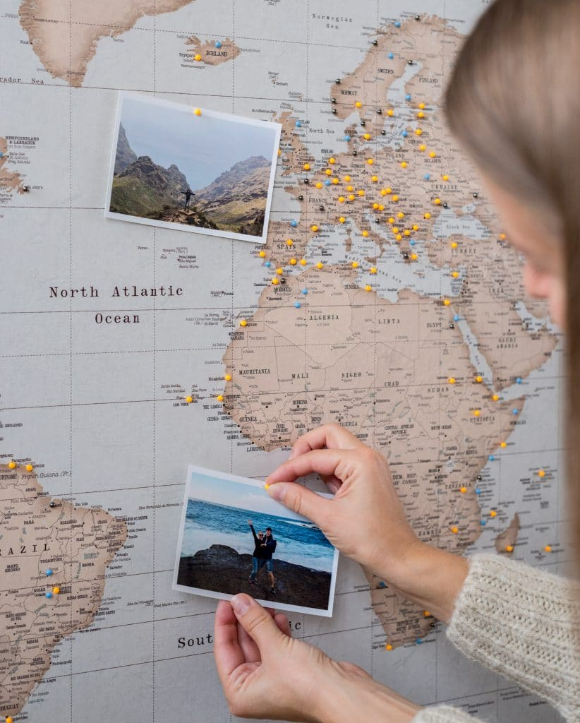 world map to pin places visited vintage