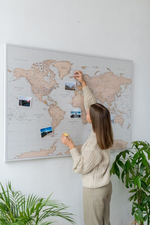 map of the world with pins on canvas vintage