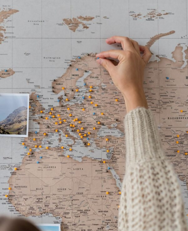 canvas map world with pins cork board