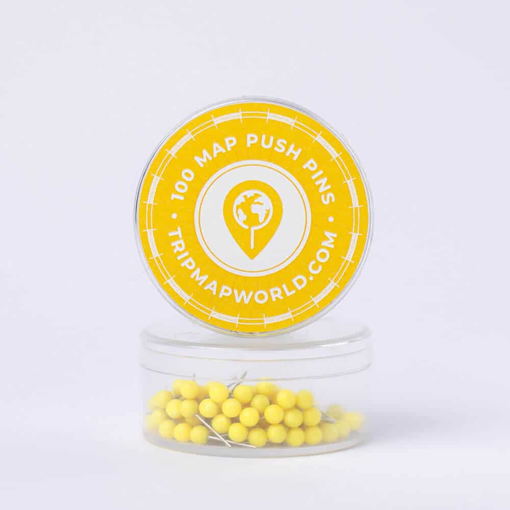 yellow push pins for map pinning