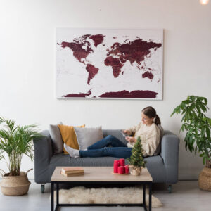 burgundy push pin canvas map tripmap