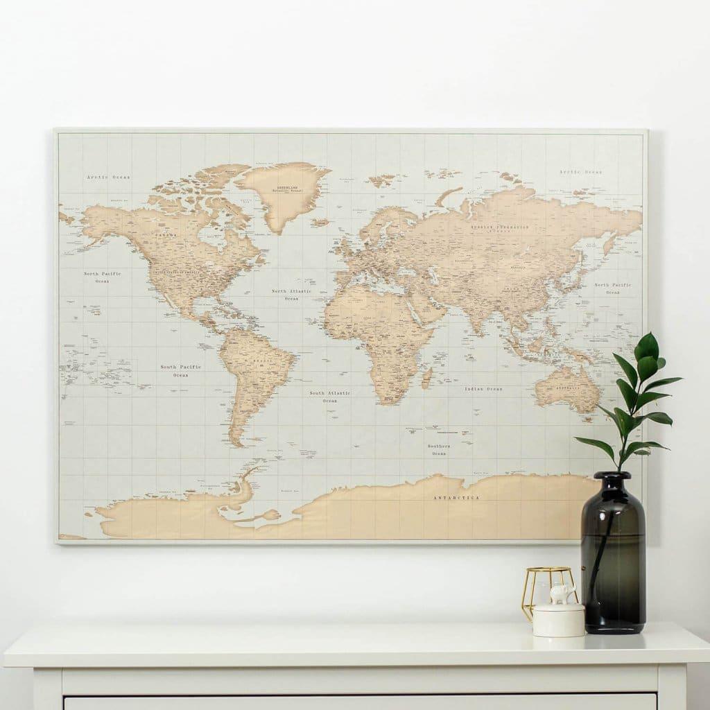 vintage world map canvas interior