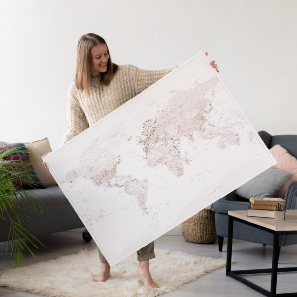 beige push pin world map with pins