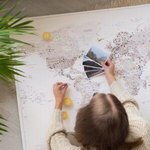 beige color pinnable travelers map