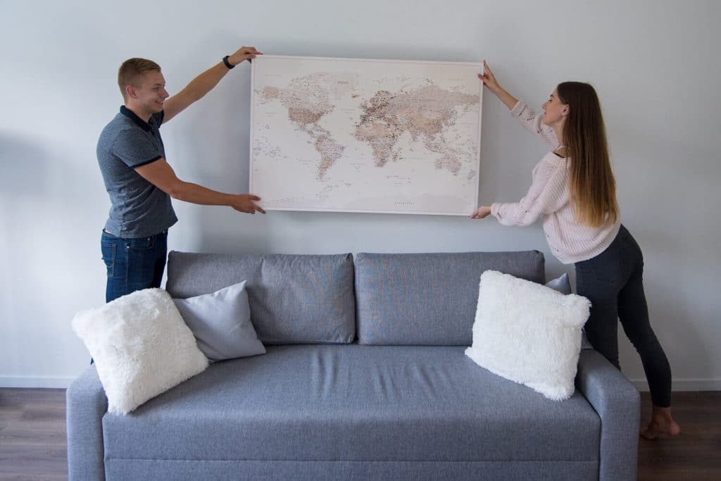 wall world map hanging on wall ideas