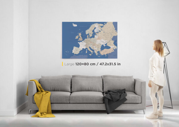 large europe push pin map
