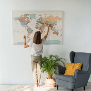 colorful push pin large map on canvas
