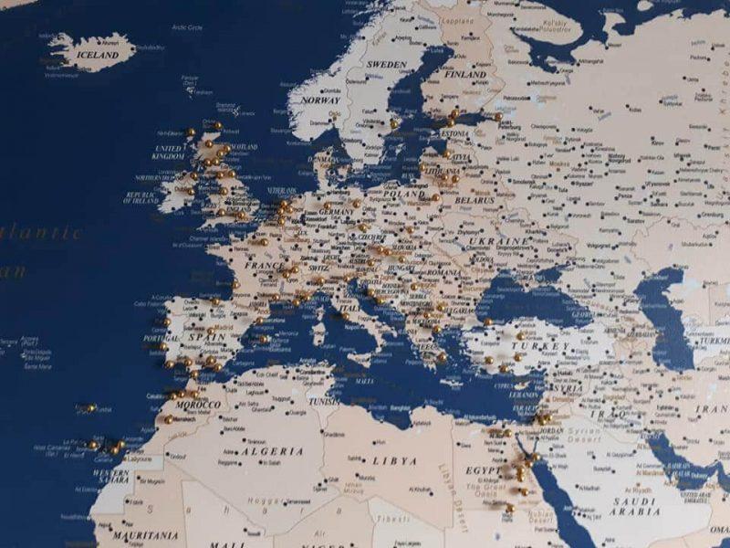 high detailed canvas world map art