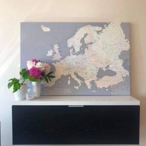 high detailed europe map pinboard