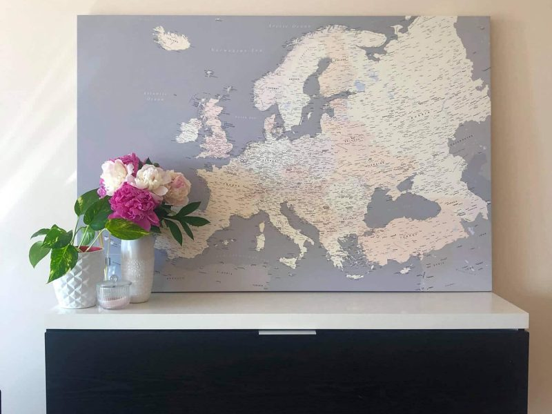 high detailed europe map pinboard