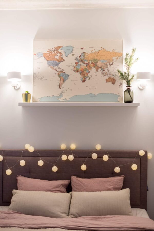 push pin world map colorful with pins