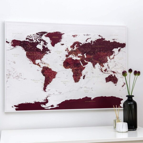 travel map of the world burgundy color