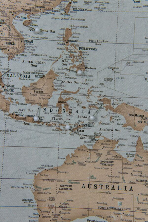 world map vintage with pin asia islands
