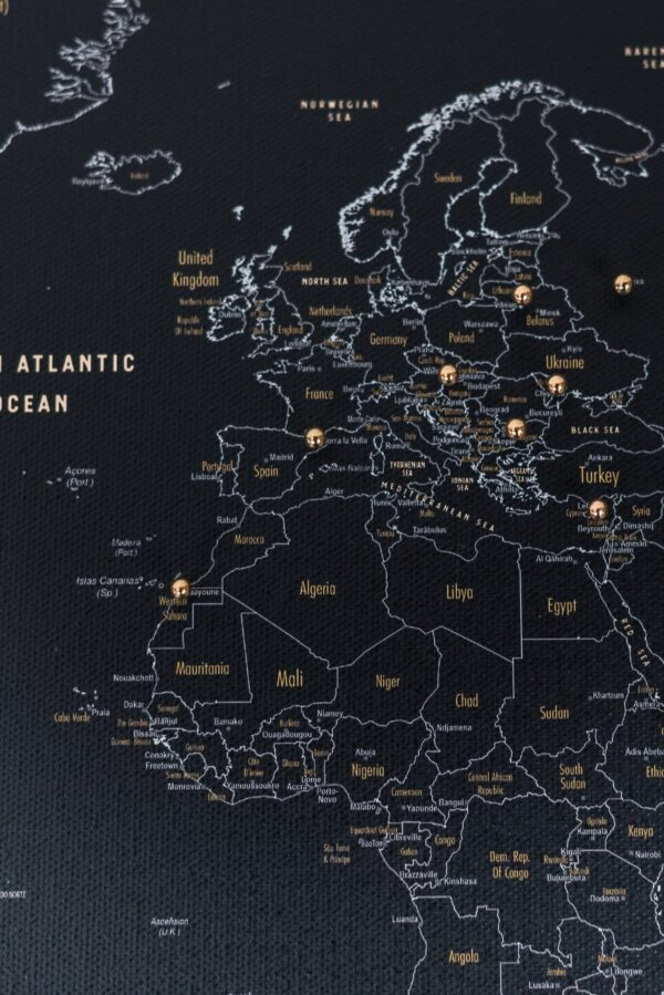 travel map with pins black color