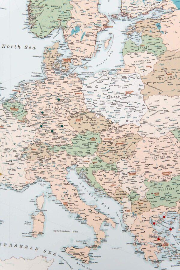 canvas europe map pinnable tripmapworld
