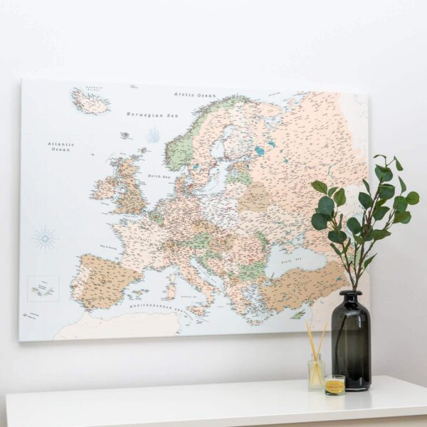 high detailed map of the europe retro