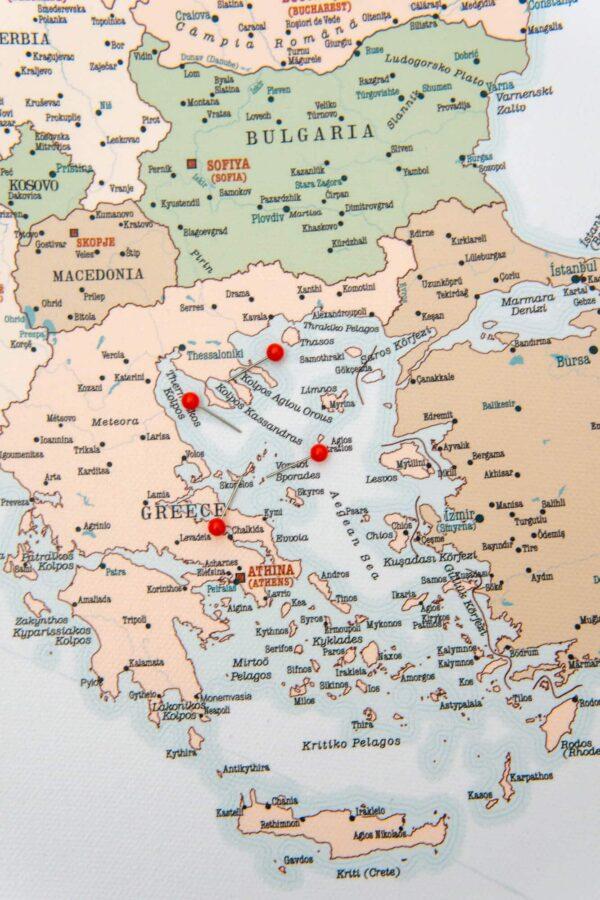 retro push pin europe map high detailed