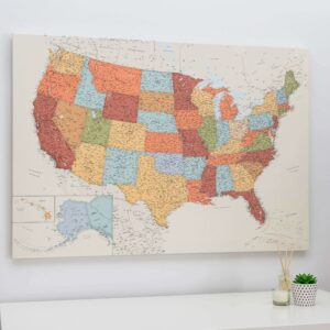 extra large detailed us push pin map personalized