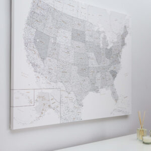 grey white push pin usa map on canvas large