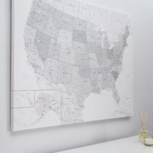 grey white push pin usa map on canvas large