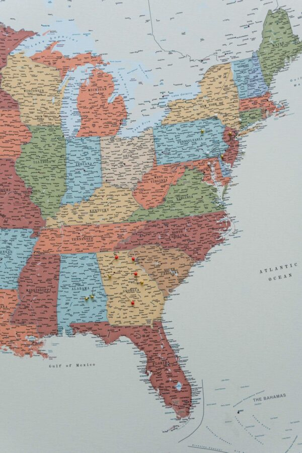 large personalized us map with states and national parks