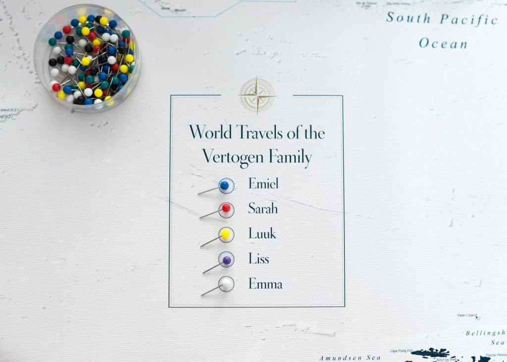 map legend personalized falimy world map