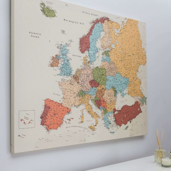 personalized europe push pin map on canvas colorful
