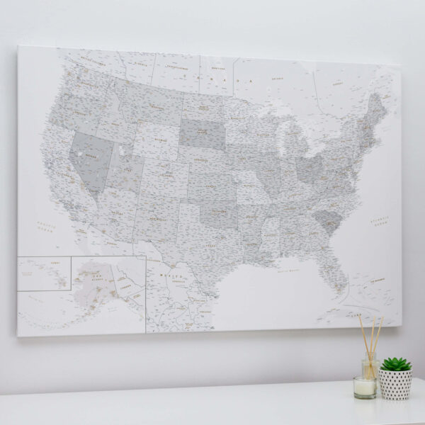 personalized us traveler map with pins grey