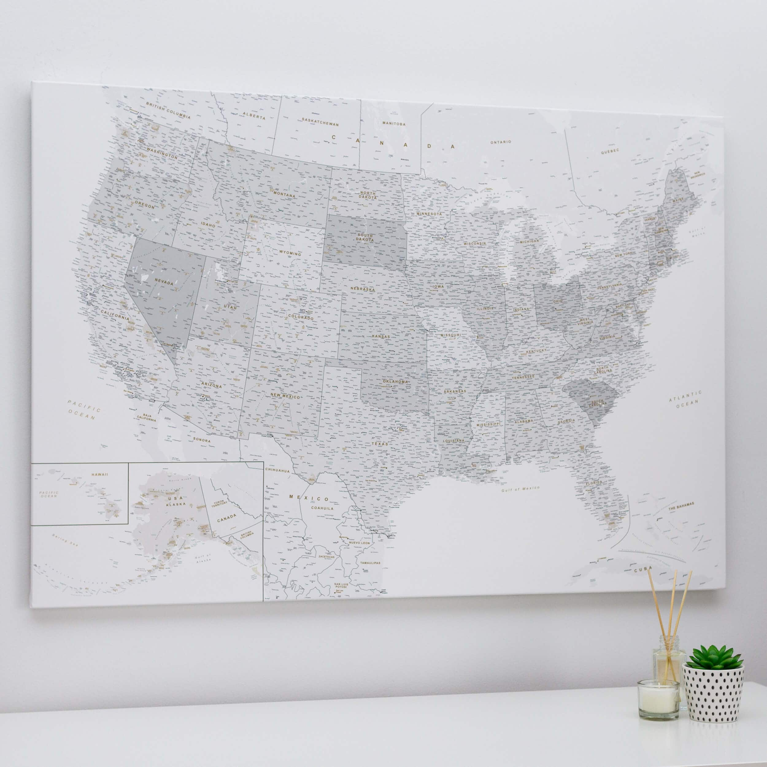 Personalized Us Traveler Map Push Pin USA Map   Grey & White (Detailed)   Push Pin Travel Maps