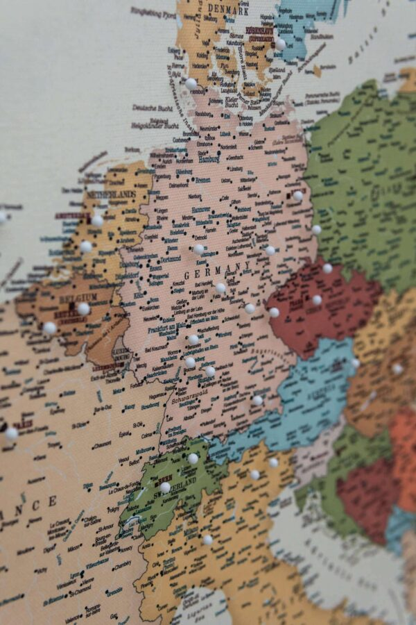 push pin europe map colorful detailed