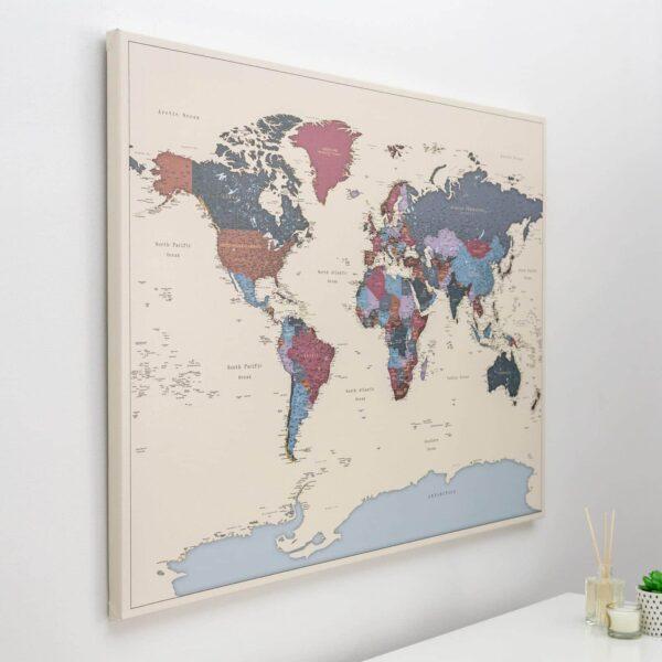 push pin world map with pins grapes