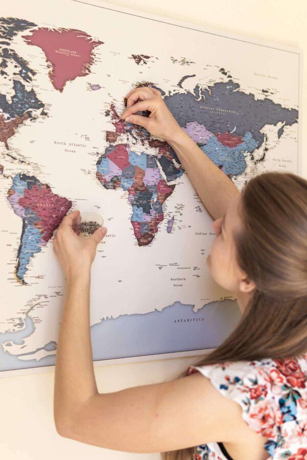world map wall map art grapes color