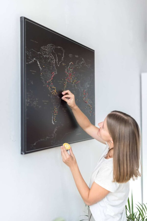 high detailed black world map wall art