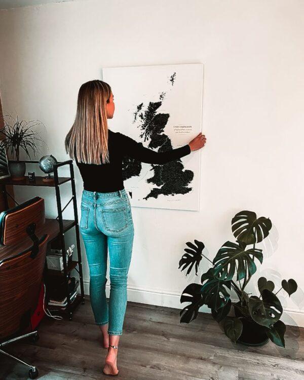 wall map black uk and ireland canvas