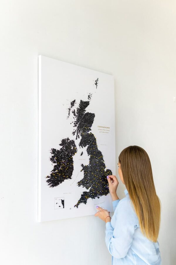 black and white uk map on canvas wall art