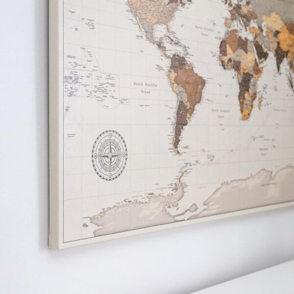canvas world map wall art brown