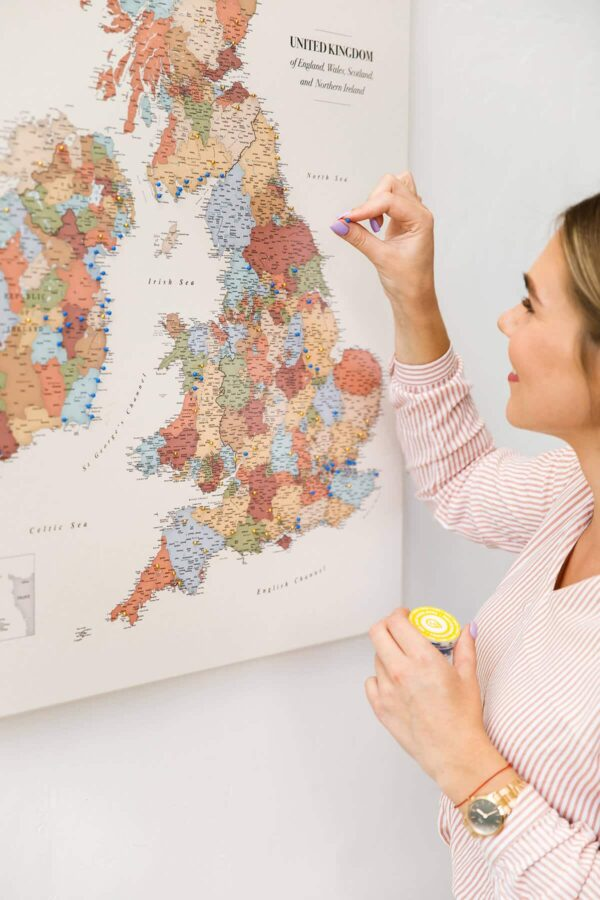 colorful uk ireland islands map with pins
