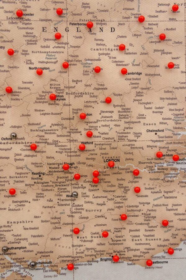 detailed united kingdom map with pins vintage