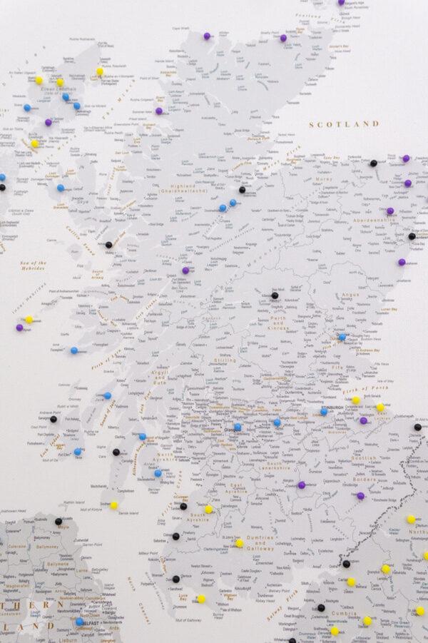 grey scotland canvas map wall art