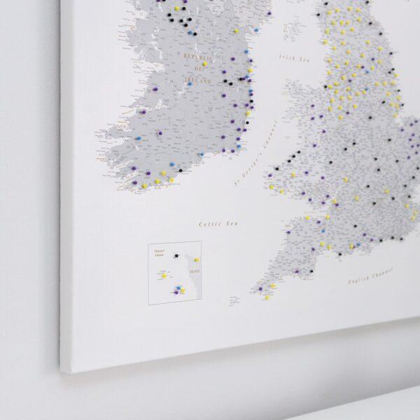 grey uk and ireland push pin map canvas