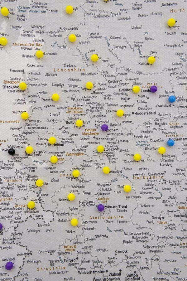 high detailed grey uk push pin map
