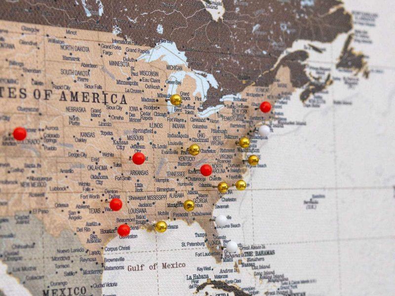 high detaled canvas world map safari