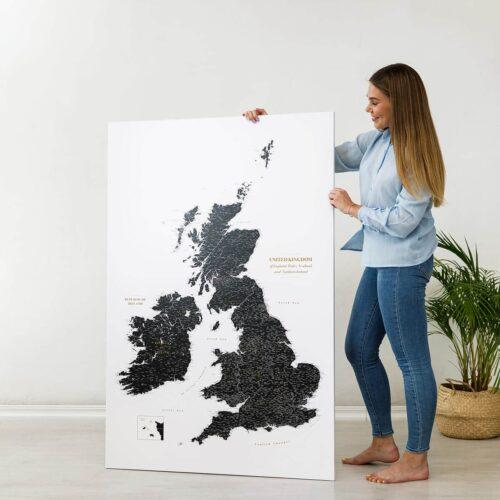 large black political british islands map on canvas
