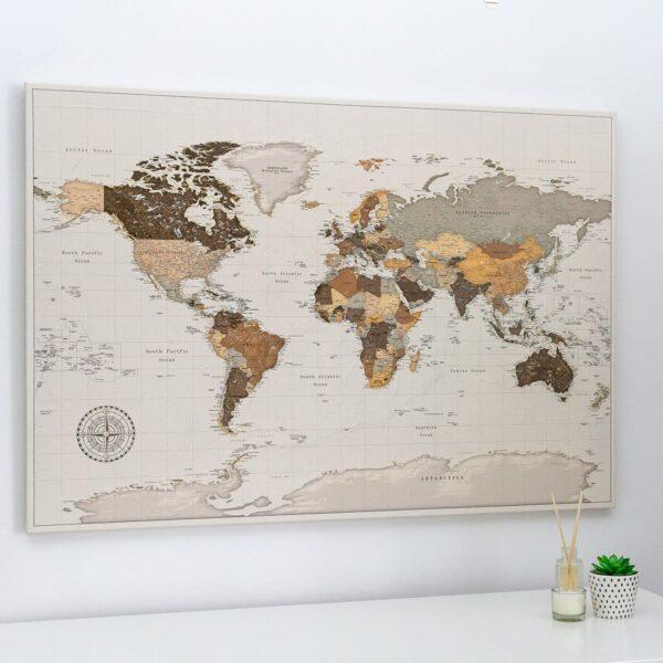 large world map pinboard safari brown