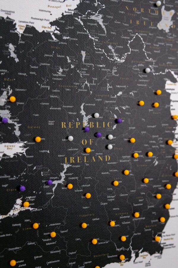 map of ireland black with pins