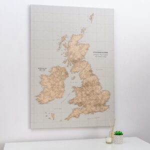 push pin uk and ireland map vintage